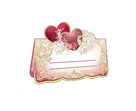 Рассадочная карточка Бордовые сердца с золотом