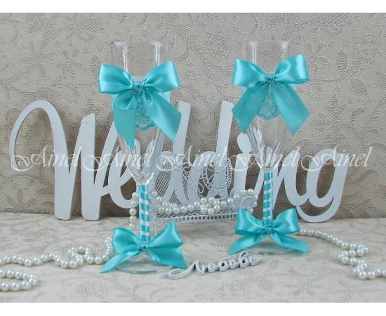 """Бокалы свадебные для молодоженов """"Бантики бирюзовые"""""""