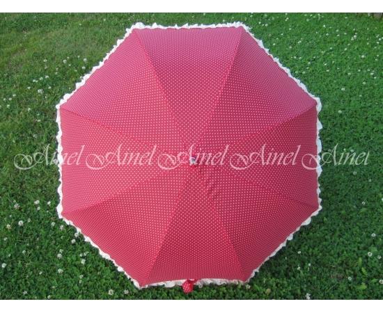 Зонт-трость №17 Красный в горох