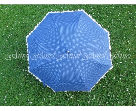 Зонт-трость №18 Синий в горох