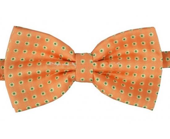 Галстук-Бабочка №2-58 оранжевый в зеленый горох