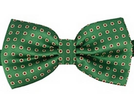 Галстук-Бабочка №2-61 зеленый в красный горох