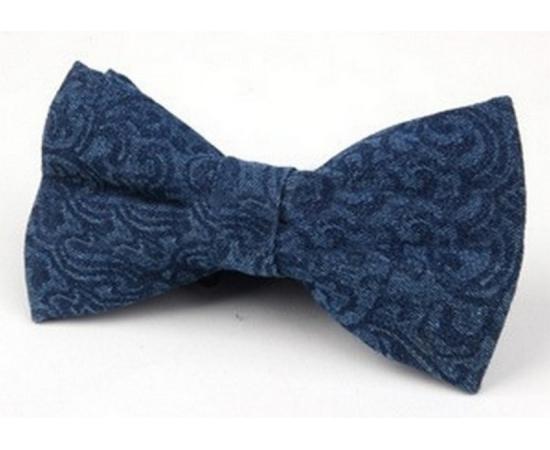 Галстук-Бабочка №2-83 синий в разводах джинса