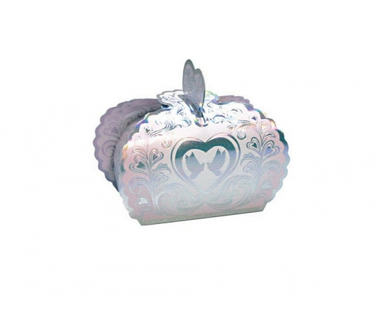 Бонбоньерки Серебро с сердцами перламутр