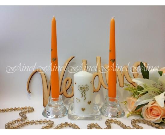 Свечи свадебные «Эконом» оранжевые длинные Сердца