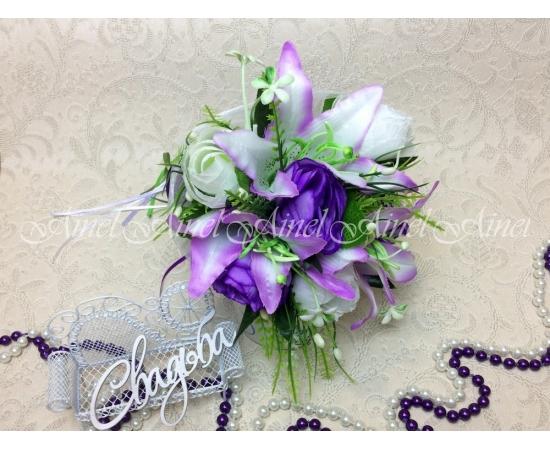 Букет-дублер Лилии+розы сиреневые+фиолетовые
