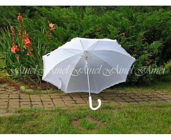 Зонт-трость Белый гладкий, толстая ручка