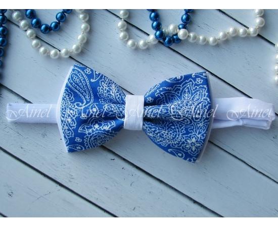 Галстук-Бабочка №2-106 синий с белыми огурцами