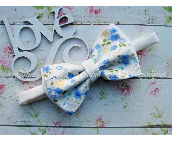 Галстук-Бабочка №2-107 голубые цветы
