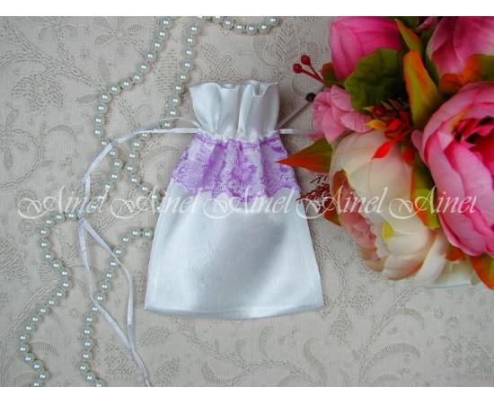 Мешок для зерна Белый+лиловое кружево