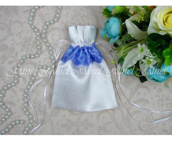 Мешок для зерна Белый+сине-сиреневое кружево