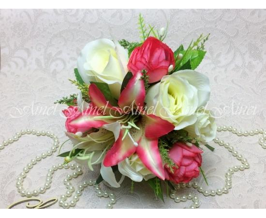 Букет-дублер Лилии+розы+камелии розовый коралл