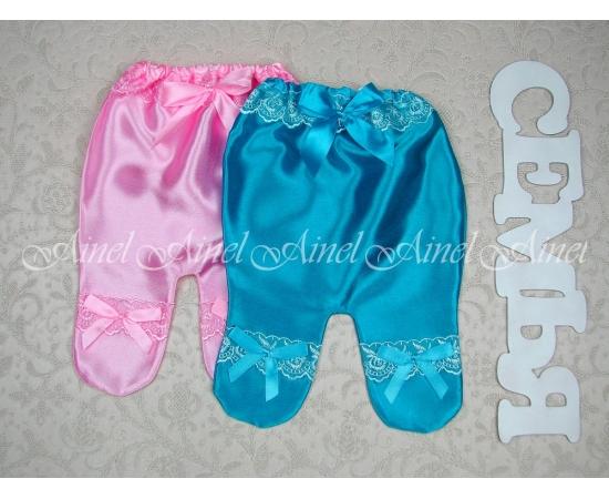 Ползунки №12 бирюзовый+розовый, цветное кружево