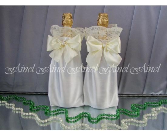 Мешочки для шампанского айвори широкое кружево