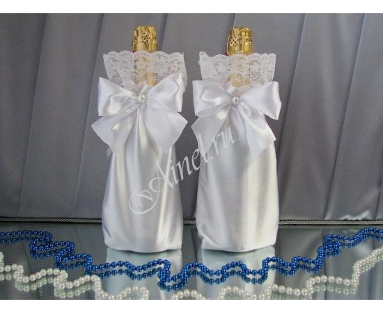 Мешочки для шампанского белые широкое кружево