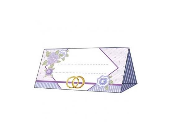 Рассадочная карточка Сиреневая, кольца, розы