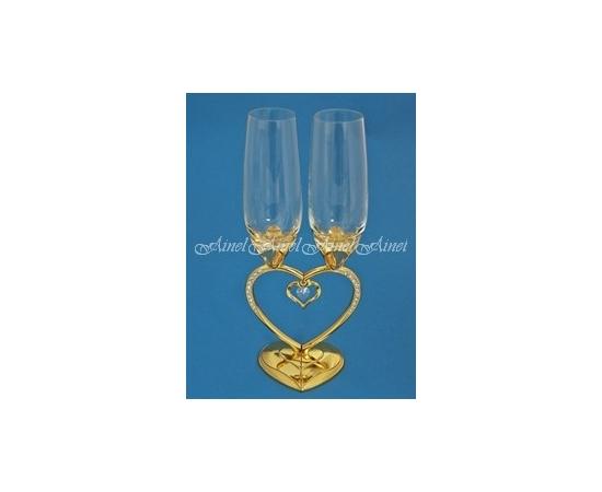 Бокалы свадебные для молодоженов Сердце-половинки Золото кристалл