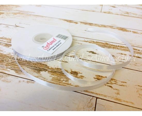 Лента атлас 6мм, 32,9м молочный