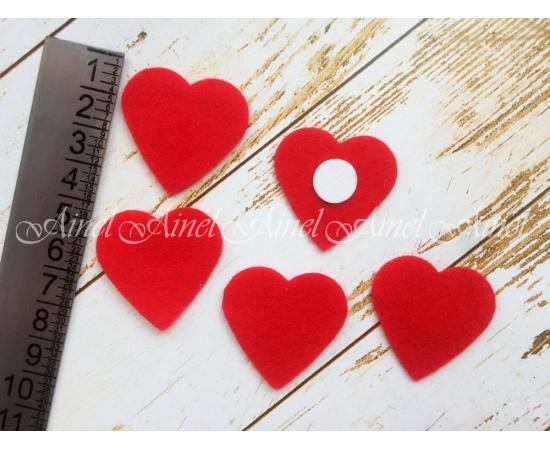 Сердечки фетр, красные, 5 шт.