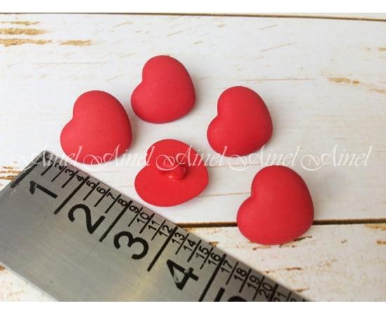 Сердечки пластик, красные, 5 шт.