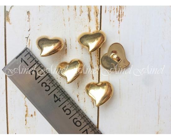 Сердечки пластик, золото, 5 шт.
