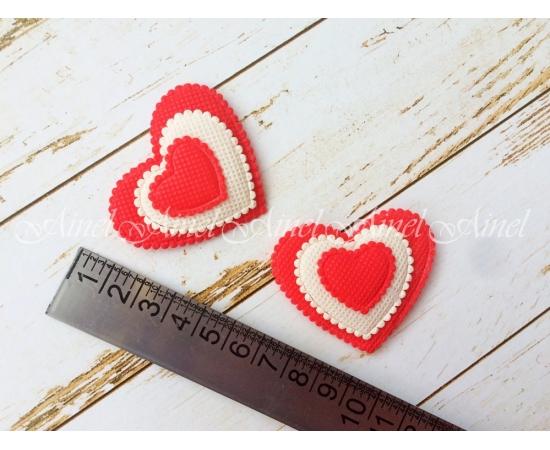 Сердечки фетр, красные, 2 шт.