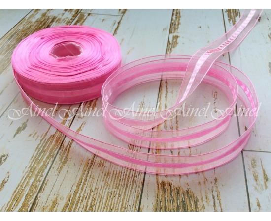 Лента органза розовая, 1м