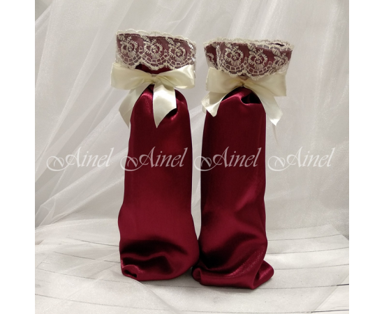 Мешочки для битья свадебных бокалов №11 Бордо с кружевом