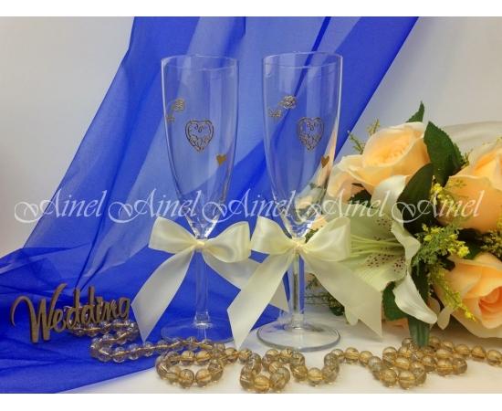 Свадебные бокалы для битья Айвори лента