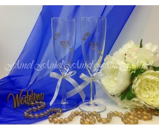 Свадебные бокалы для битья Серебряная лента