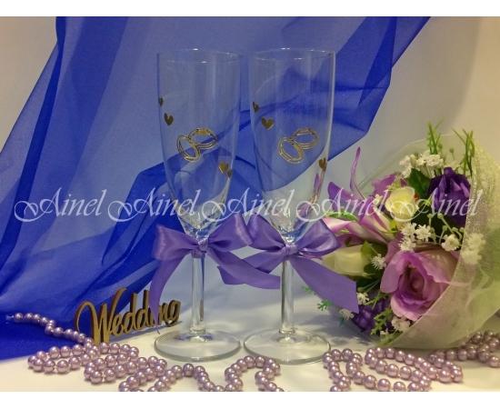Свадебные бокалы для битья Сиреневая лента