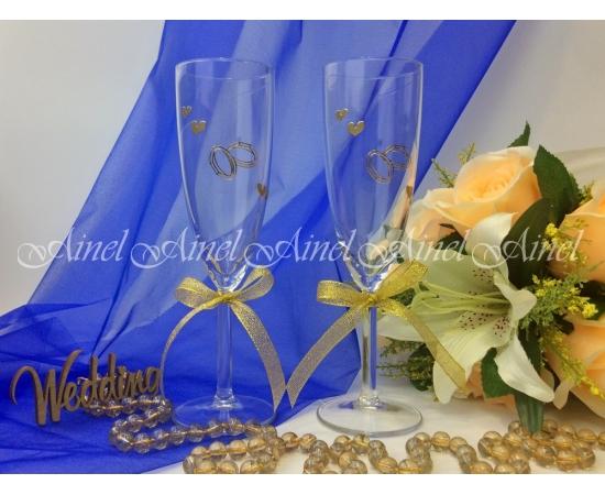 Свадебные бокалы для битья Золотая лента