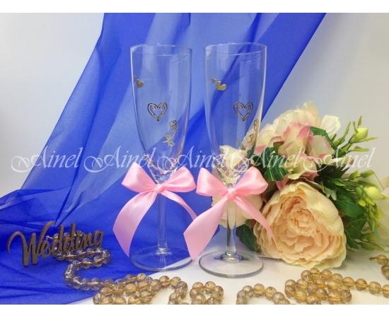 Свадебные бокалы для битья Розовая лента