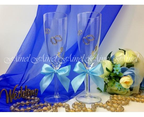 Свадебные бокалы для битья Голубая лента