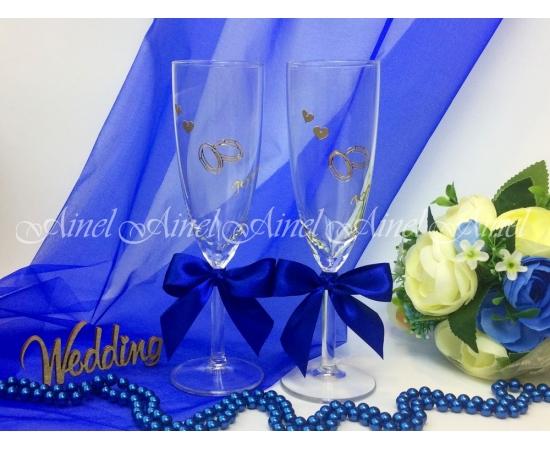 Свадебные бокалы для битья Синяя лента