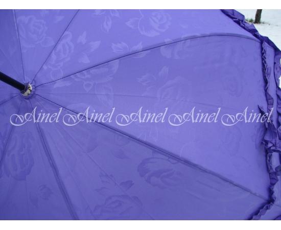 Зонт-трость для невесты сиреневый с розами аренда