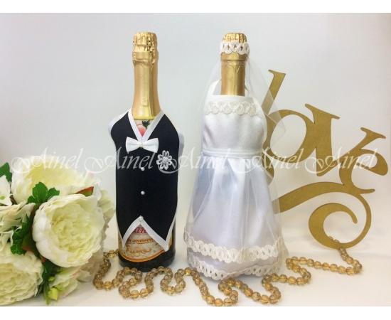 Украшение на шампанское №26 Белый+Черный фартук