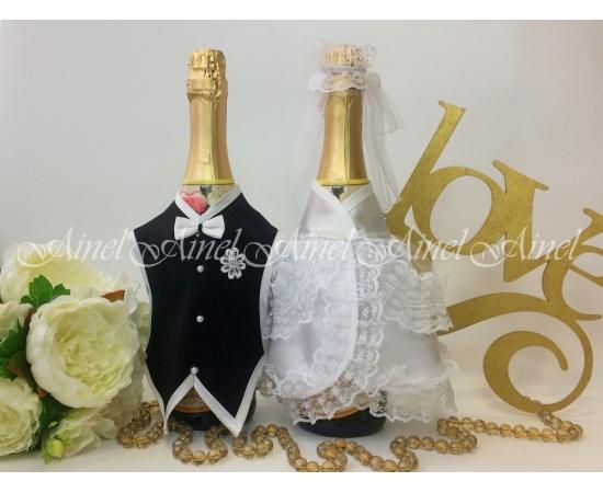 Украшение на шампанское №28 Белый+Черный спинки