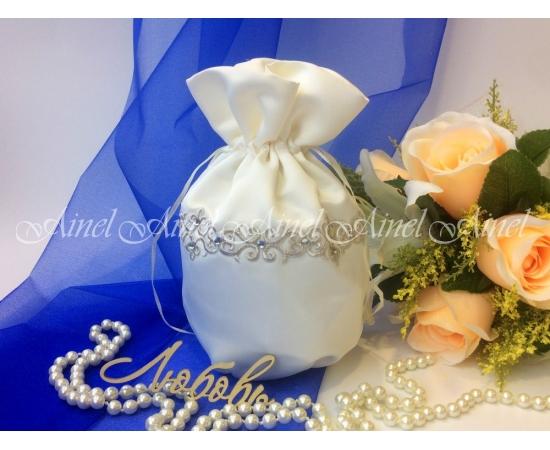 Сумочка-мешочек для невесты айвори, цветы