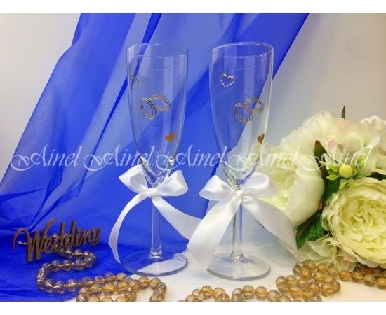 Свадебные бокалы для битья Белая лента