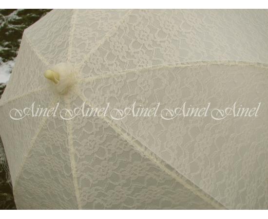 Зонт-трость на свадьбу Айвори с кружевами напрокат