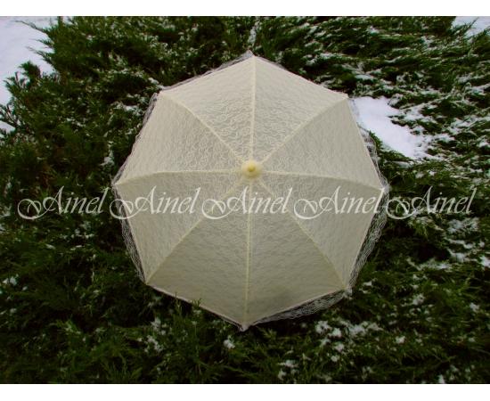 Зонт-трость свадебный Айвори кружево аренда