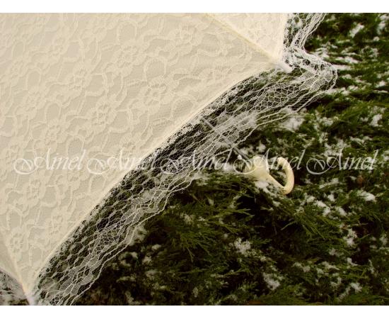 Зонт-трость для невесты Айвори с кружевом напрокат