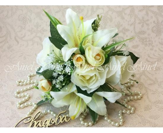 Букет-дублер Розы+Лилии молочные на свадьбу