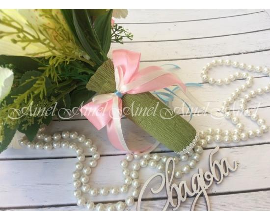 Букет-дублер Розы+Лилии розово-голубые на свадьбу