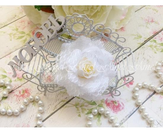 Заколка-цветок Роза с кружевом
