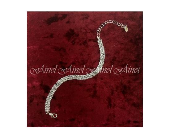 Браслет на свадьбу стразы серебро 3 ряда на застежке