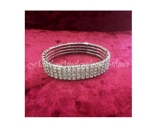 Браслет для невесты стразы серебро 4 ряда на резинке
