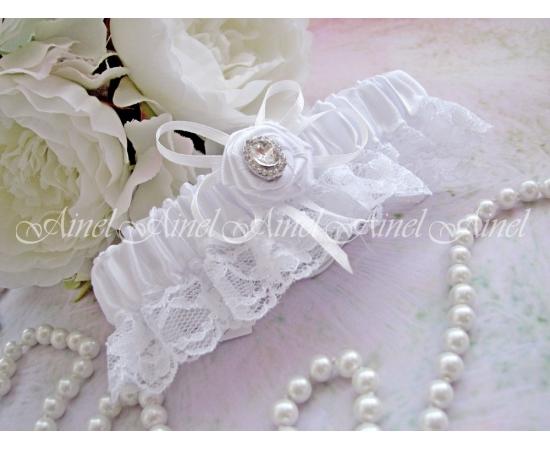 """Подвязка """"Белла"""" белая с розой"""