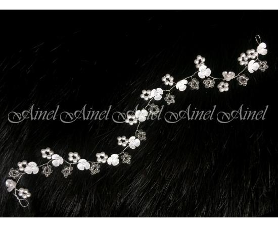 Гибкое украшение для прически Жемчуг, кристаллы